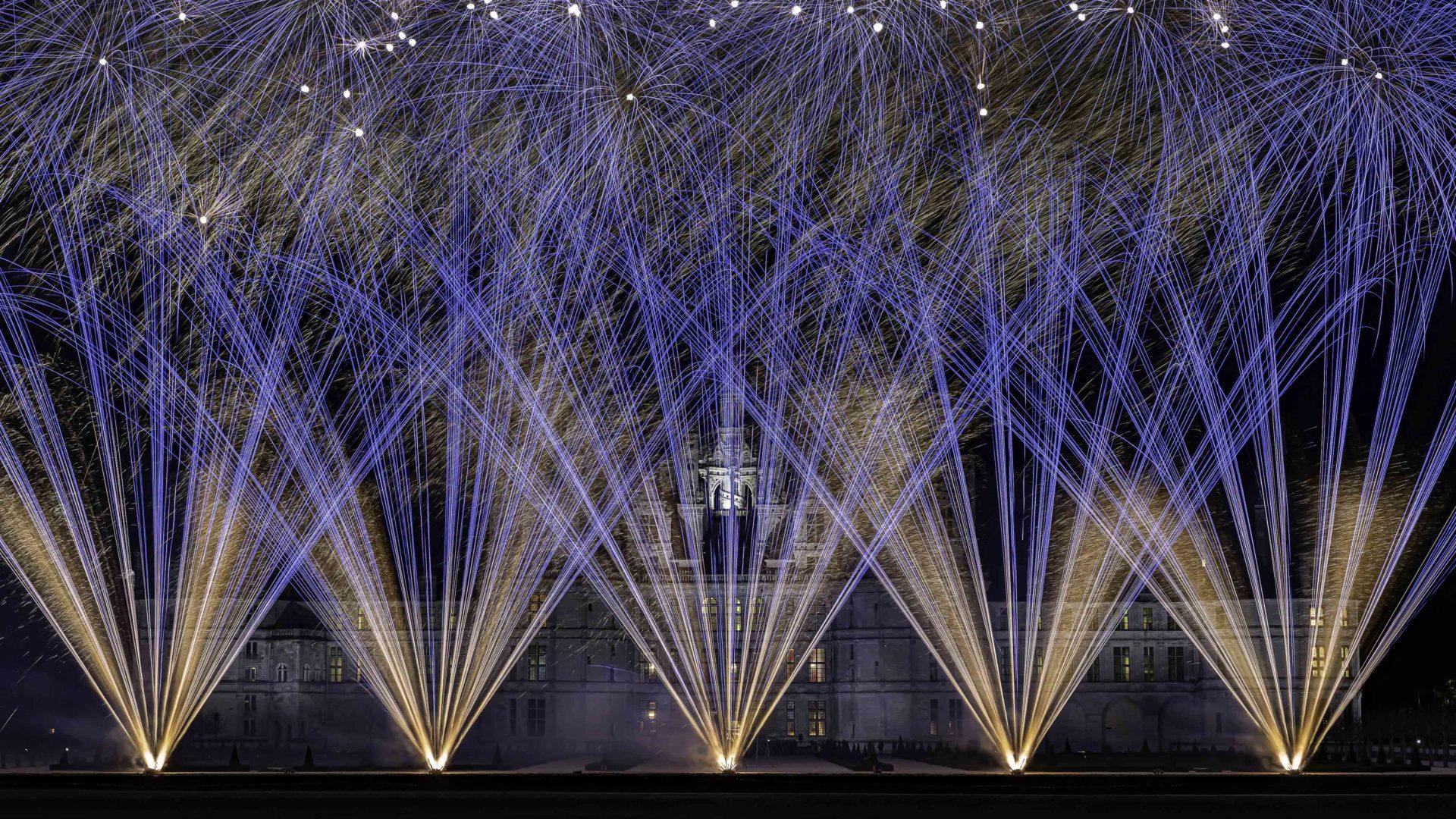 feu d'artifice or et bleu au château de chambord